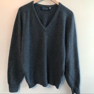 Burberry 100% Cashmere Charcoal Gray Sweater XL